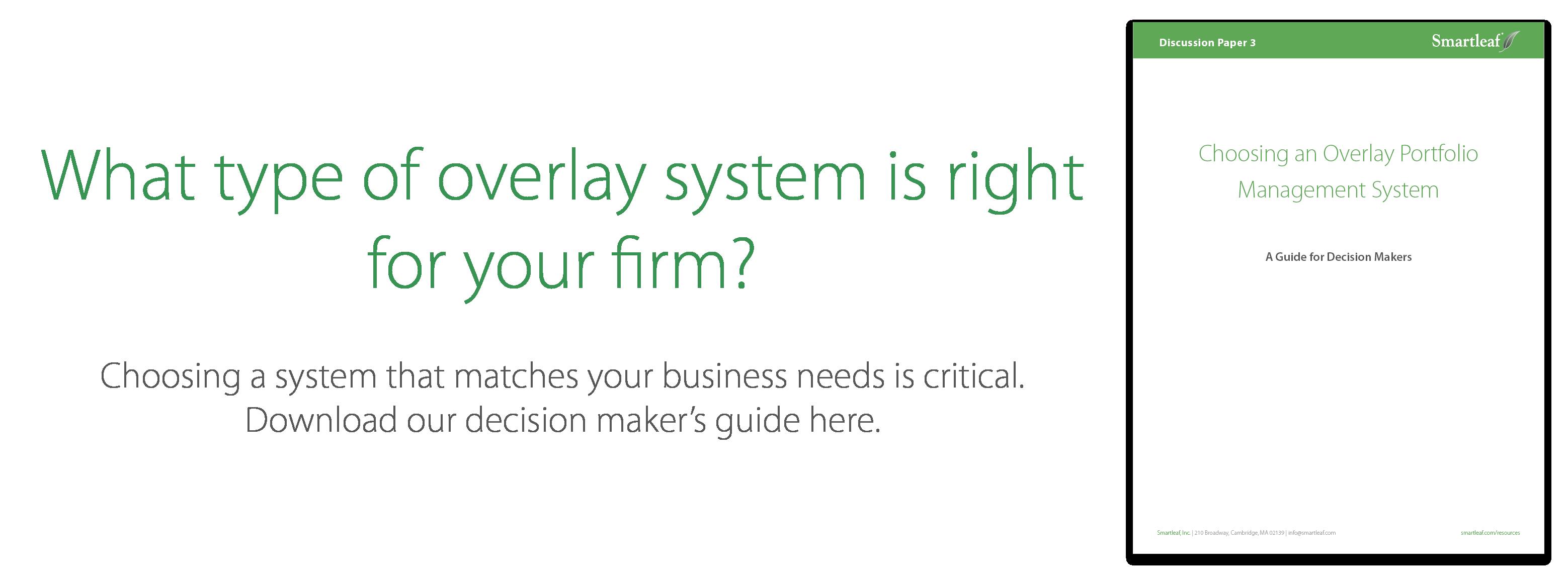 Choosing an Overlay Portfolio Management System