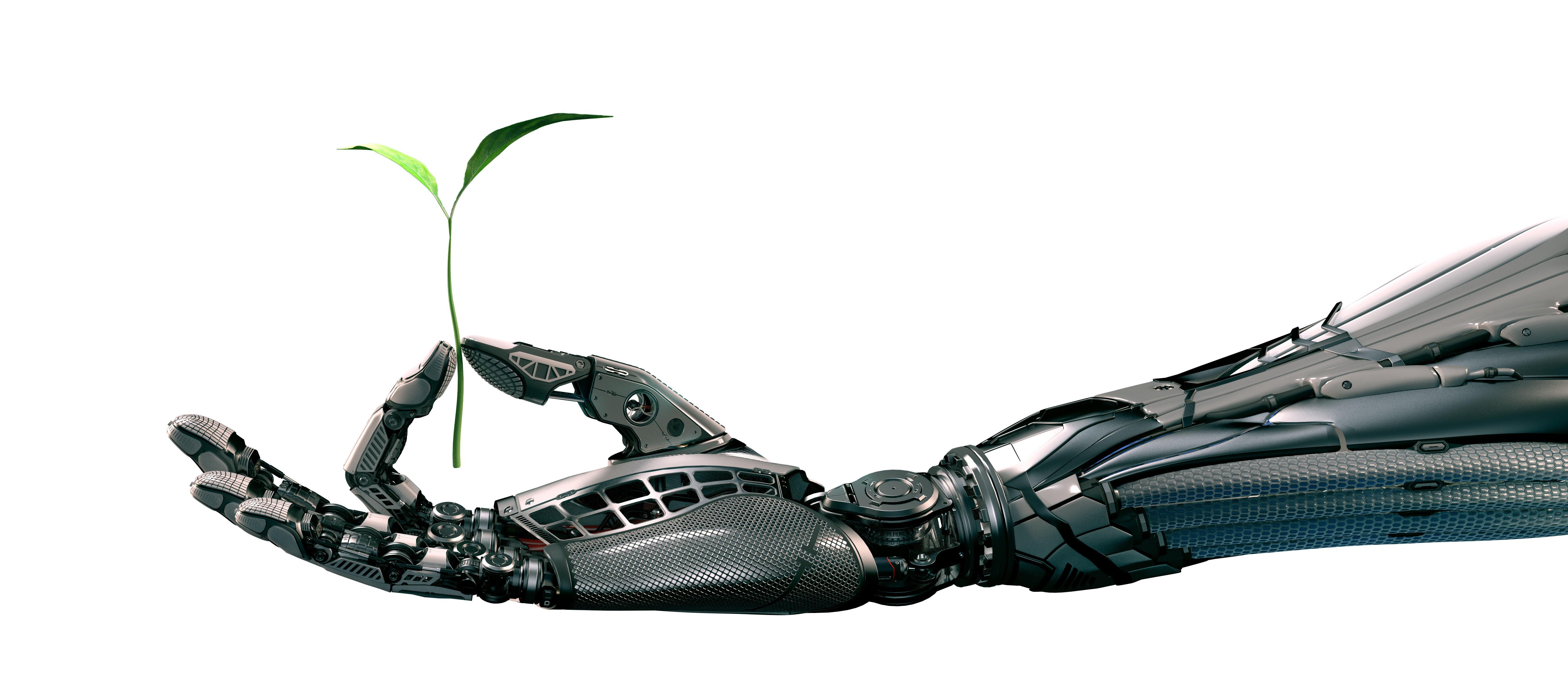 Robot holding leaf.